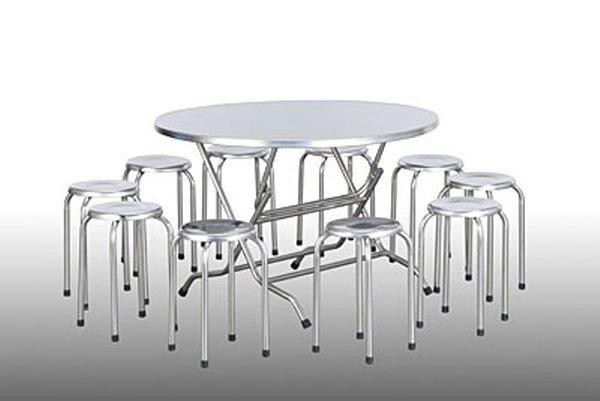 Bộ bàn ghế nhà ăn công nghiệp inox
